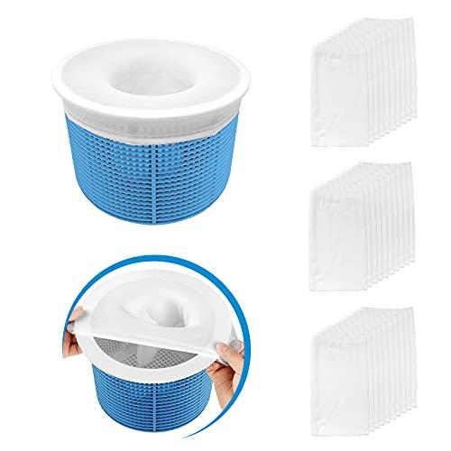 Aiglam 30er Pack Schwimmbad Skimmer Socken, Pool Filter Saver Socken Netz für Filter Skimmer Korb, Ultrafein Mesh Screen Liner für Schwimmbad Korb