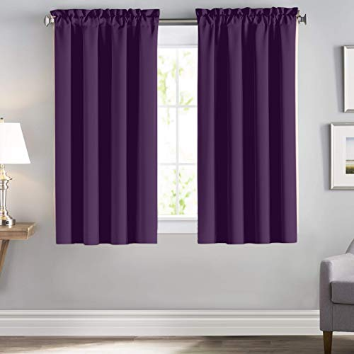 downluxe Blackout Curtains 52 Wide 63 Length - Blackout Curtain Drapes, Black Liner Curtains for Girls Room, Heat Blocking Rod Pocket Drapes for Small Windows (2 Pack, Royal Purple)