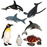 Terra by Battat – Sea Life Set – Toy Whales, Penguins, Dolphin, Shark, and Turtle – Ocean Animal Toys and Playsets for Kids Aged 3 and Up, Brown/a, AN6050DZ