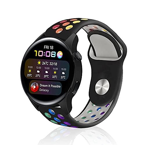 Rosok Transpirable Watch Correa Compatible con Huawei Watch 3 / 3 Pro, Deportivas de Silicona Arco Iris Correas de Repuesto para Huawei Watch GT 2 46 mm / GT 2e / GT2 Pro / GT (22mm) - Negro