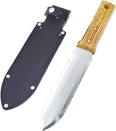 Nisaku NJP650 Hori-Hori Weeding & Digging Knife, Authentic Tomita (Est. 1960) Japanese Stainless Steel, 7.25' Blade, Wood Handle (Single Расk)