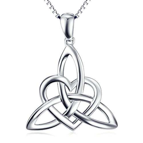 Sterling Silver Irish Celtic Knot Triangle Lover Heart Shaped Pendant Necklace, 18'