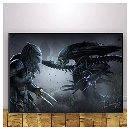 qinminsru Alien vs Depredator Horro - Póster clásico de película (50 x 75 cm), diseño de película