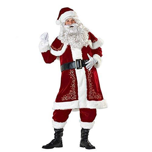 GzxLaY Disfraz de Papá Noel de Navidad para Hombre, Disfraz de Cosplay de Navidad, Traje de Pana para Adulto, Traje de Papá Noel para Adultos,XXL