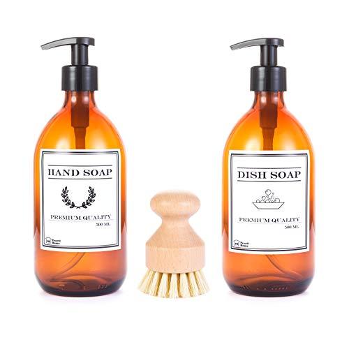 2 bottiglie di vetro ambrato da 500 ml con distributore di sapone liquido per mani e lavastoviglie + 1 spazzola in legno di bambù con setole naturali per strofinare con facilità.