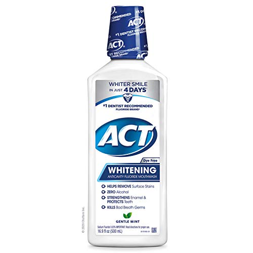 ACT Whitening + Anticavity Fluoride Mouthwash 16.9 fl. oz. with Zero Alcohol, Dye Free, Gentle Mint