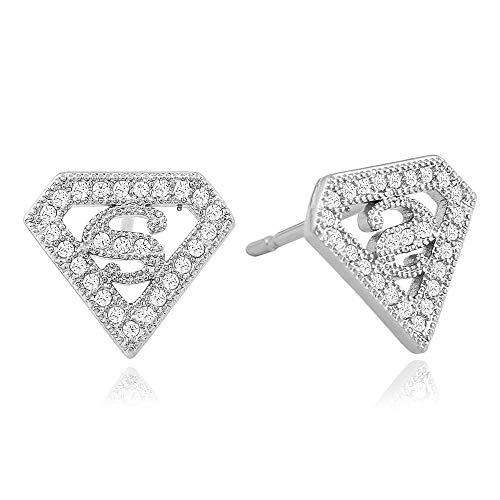 Joyas punk europeas y americanas, hip-hop triángulo tachonado de diamantes Superman S hombres y mujeres pendientes s925 pendientes de plata esterlina-Plata