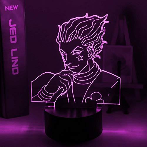 Lámpara de noche 3D de anime, ilusión, lámpara de luz nocturna para niños, regalo LED, sensor táctil, multicolor, luz nocturna anime Hunter X Hunter Decor Light Cool 3D lámpara Hisoka Gadgets ZMSY