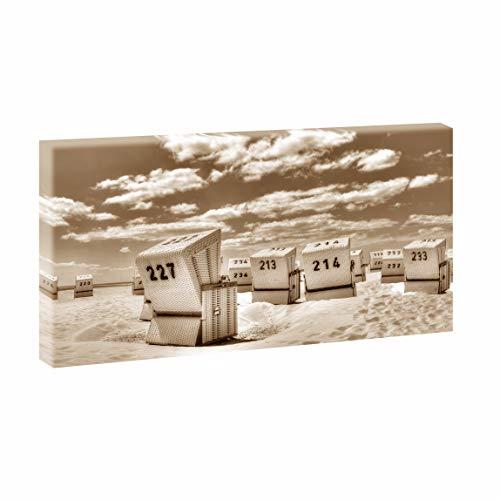 Querfarben Bild auf Leinwand mit Landschaftsmotiv Strandkörbe in SPO | 160 x 80 cm, Farbig, Wandbild, Leinwandbild mit Kunstdruck, Nordseebild mit Strandmotiv auf Holzrahmen gespannt, 80x160 cm