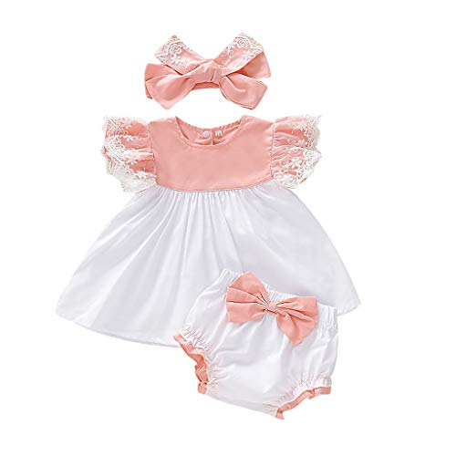 Bsmile Ropa Bebe Niña Recien Nacido Verano 3 a 24 Meses - 2PC/Cordón Vestido Tops + Arco PP Pantalones Cortos Conjunto de Ropa