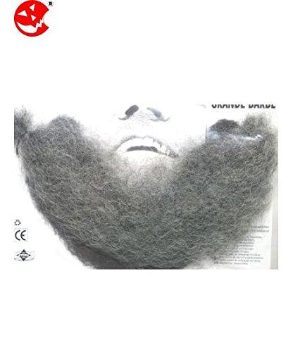 Barba finta a trama sottile realistica GRIGIA con tre srisce di biadesivo e cordino elasticizzato