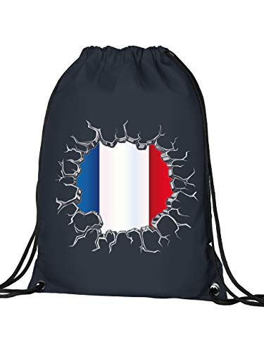Golebros Frankreich France Fan Artikel 5704 Fuss Ball Turn Sport Beutel Unisex EM 2020 WM 2022 Trikot Look Flagge Fahne Team Kinder Kids Junge Mädchen Navy