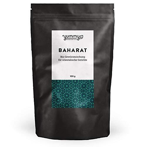 Bio Baharat Gewürzmischung für arabische Gerichte, 100g Beutel / fair gehandelt / zucker- und salzfrei / orientalisches Gewürzpulver, ideal für Tajine, Couscous, Lamm, Reis, Kebab & Falafel