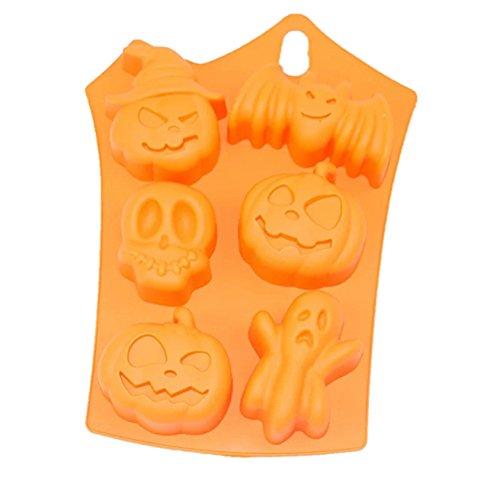 2 paquetes de moldes de silicona para chocolate de Halloween DIY Fondant Cake Candy Jelly dulces moldes de calabaza murciélago calaveras decoración para hornear