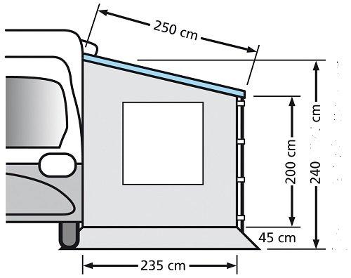 Eurotrail Seitenwand für Kastenwagen und Wohnwagen mit Fenster ETCT0018.250W