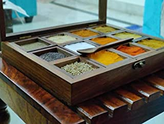 DECORVAIZ Wooden 12 Containers Multipurpose Spice Box with Spoon, Wood and Glass, Brown, 1 piece