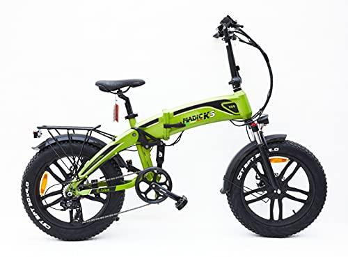 Madicks - Bicicleta eléctrica plegable con doble amortiguación, color verde, 250 W