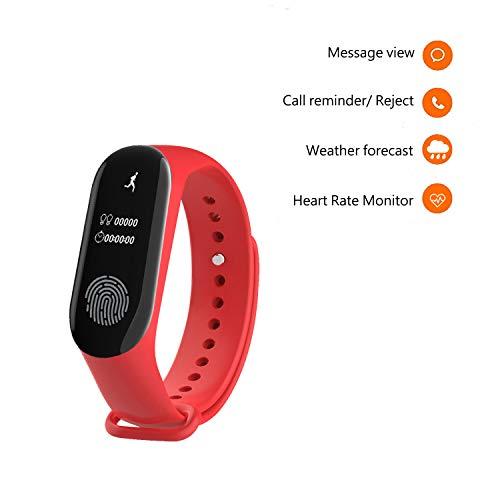 Fitness Smartband Pulsera de Actividad con Monitor de Pulso cardiaco Rastreador de Ejercicios, Full OLED táctil, Notificaciones en la Pantalla, Mide calorías, Pasos y sueño para iPhone Android