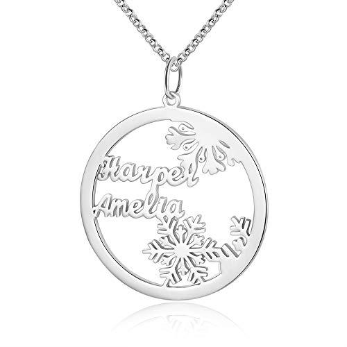 jewelora Collana con Nome in Argento Sterling 925 Personalizzato 2-3 Nomi per Donne con Ciondolo Fiocco di Neve Giorno di Natale Vigilia di Natale Gioielli da Donna (Silver-2names)