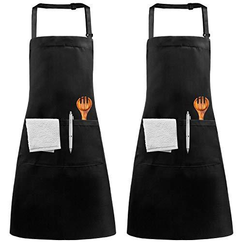 KEREDA Kitchen Aprons, 2 Pack Cooking Chef Aprons with 2 Pockets Adjustable Bid Aprons for Men Women Home Restaurant Baking BBQ Gardening