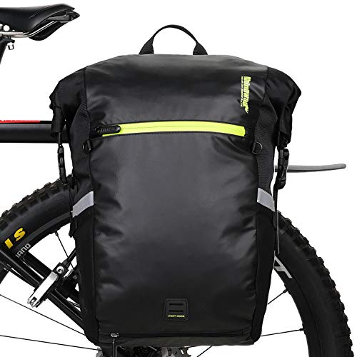 自転車 多機能 パニアバッグ 3WAY サイドバッグ リアバッグ バイク 防水 大容量 軽い 収納力抜群(24Lブラック)