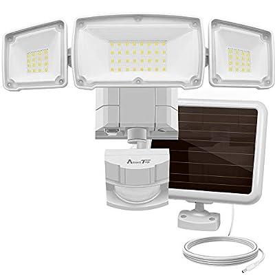 Solar Lights Outdoor, AmeriTop Super Bright LED Solar Motion Sensor Lights with Wide Angle Illumination; 1500LM 6000K, 3 Adjustable Heads, IP65 Waterproof Outdoor Security Lighting
