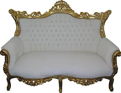 Casa Padrino Barock 2-er Sofa Master Weiß Lederoptik/Gold mit Bling Bling Glitzersteinen - Antik Stil Möbel - Limied Edition