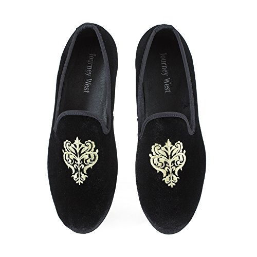 Men's Vintage Velvet Embroidery Noble Loafer Men Shoes Slip-on Loafer Smoking Slipper US 11