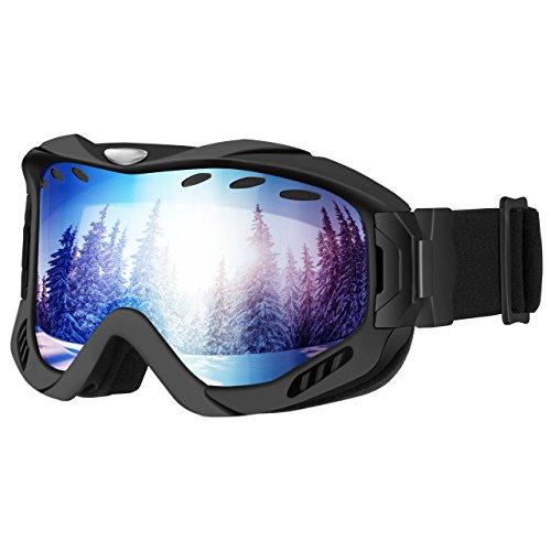 [Anti-Fog & OTG Design ] Ski Goggles,OMORC Snowboard Skate Goggles Snowmobile Ski Snow Glasses with 100% UV400 Protection,Super-Wide Angle and Spherical Dual-Layer Lens,Bendable Frame,Anti-Slip Stra
