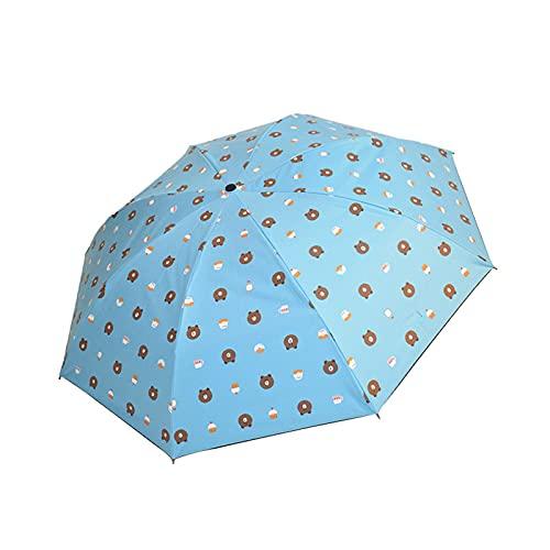 LYRRHT Paraguas Lluvia Y Sol Sombrilla De Doble PropóSito PatróN De Oso De Dibujos Animados Sombrilla Plegable Protector Solar Paraguas Anti-Ultravioleta Azul