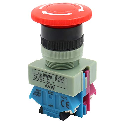 Baomain Emergency Stop Switch Push Button Switch AC 600V 10A Red Mushroom 22mm NO NC