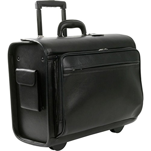 """Royce Leather Rolling 15"""" Laptop Executive Briefcase / Travel Pilot Catalog Bag in Genuine Leather with Brass Metal Parts and Removable Laptop Bag"""