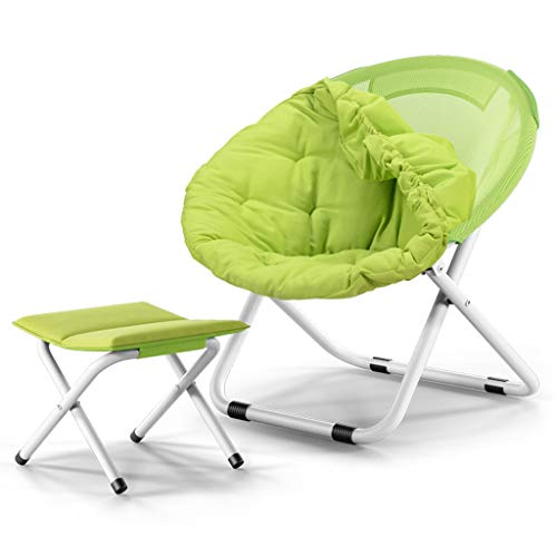 Canapé Chaise Chaise Pliante Chaise Lune Chaise Soleil Chaise Lazy Chaise Radar Recliner Dos Tissu Doux Elargi Et Conception Robuste, Repose Pieds (Couleur : Green)