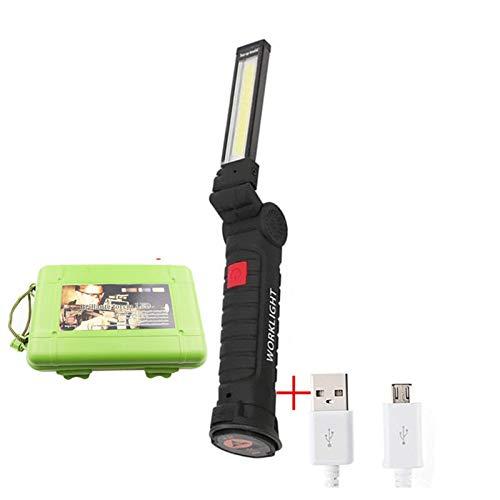 USB recargable con la batería incorporada con la función multifunción Plegable de plegado LED COB LED liderado antorcha linterna linternas super brillante para la seguridad (Body Color : Long)