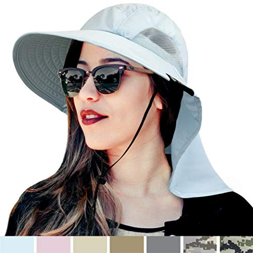 Mejor Wide Brim Sun Hat with Neck Flap, UV Protection Hiking Safari Hat for Women Light Blue crítica 2020