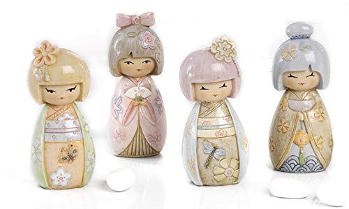 Mandorle by Paben 8Unidades muñecas japonesas de Resina 3D BOMBONIERA Comunión Confirmación cm. 9,5