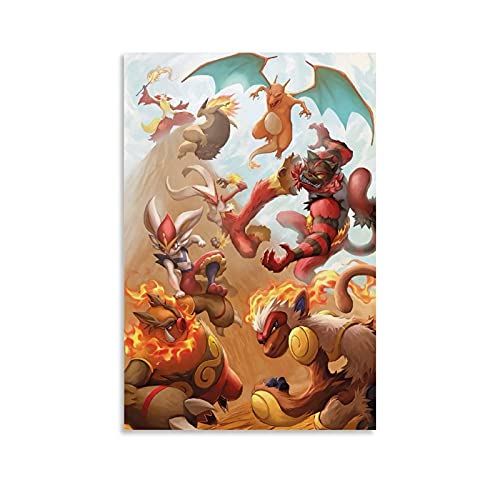 DRAGON VINES Póster de Pokémon Pocket Monsters Infernape Emboar Cenicienta Tipo de Fuego Anime Cool Póster de pared sobre lienzo para decoración del hogar, 50 x 75 cm