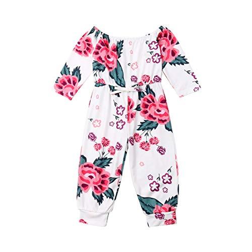 Peuter Meisje Uit Schouder Bloemen Jumpsuit Lange Mouw Lange Broek Hoge Taille Kids Een Stuk Bodysuit Outfits