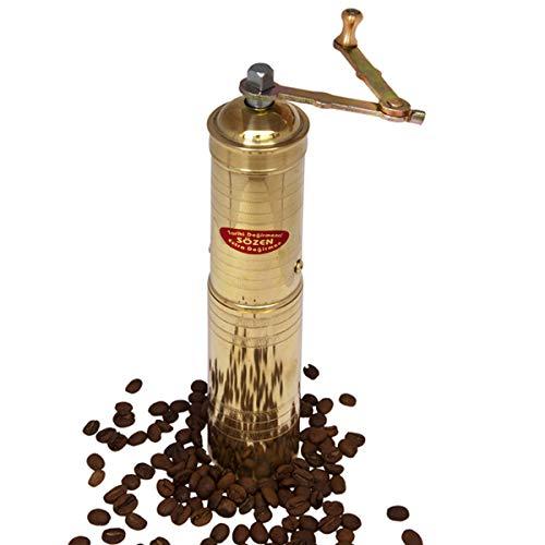 "9"" Handmade Manual Brass Coffee Mill Grinder Sozen, Portable Conical Burr Coffee Mill, Portable Hand Crank Coffee Grinder, Turkish Coffee Grinder"
