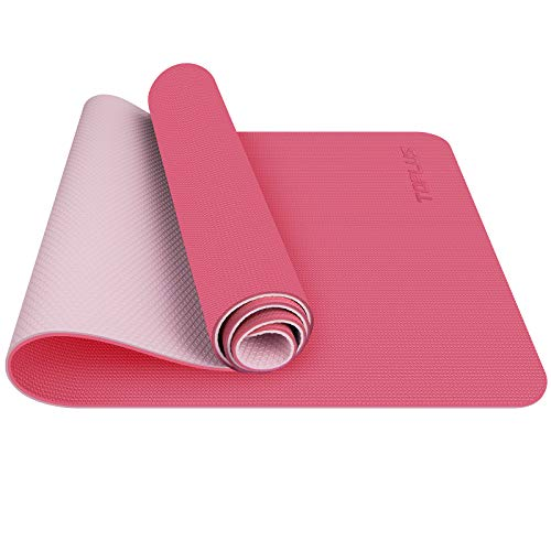 TOPLUS Gymnastikmatte, Yogamatte Yogamatte Gepolstert & rutschfest für Fitness Pilates & Gymnastik mit Tragegurt (Pink)