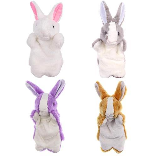 4pcs Rabbit Marionetas De Mano De Dibujos Animados Marionetas De Mano De La Felpa Juguetes Animales De Rendimiento Interactivo Juguetes Educativos Marionetas Del Dedo Juego Pretend