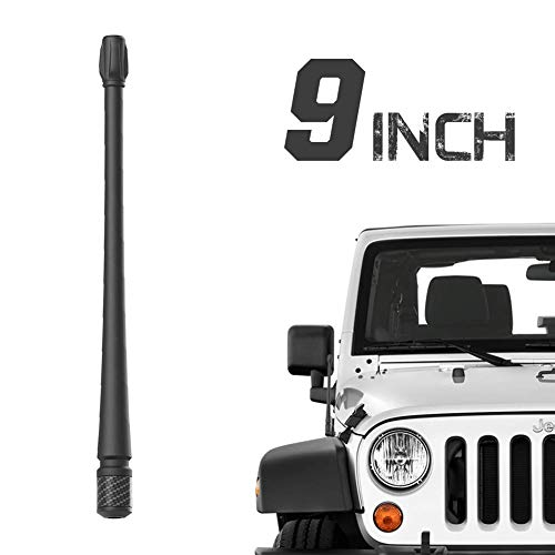RYDONAIR Antenna Compatible with 2007-2020 Jeep Wrangler JK JKU JL JLU Rubicon Sahara Gladiator, 9 inches Flexible Rubber Antenna Designed for Optimized FM/AM Reception