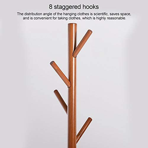 Durable Chapelier de plancher en bois massif en forme d'arbre Creative vêtements suspendus, Taille: 176x48x48cm (Couleur : Sky Blue) Rose