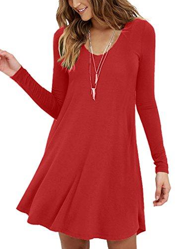MOLERANI Women's Casual Swing Simple T-shirt Loose Dress, Small, long Sleeve Red