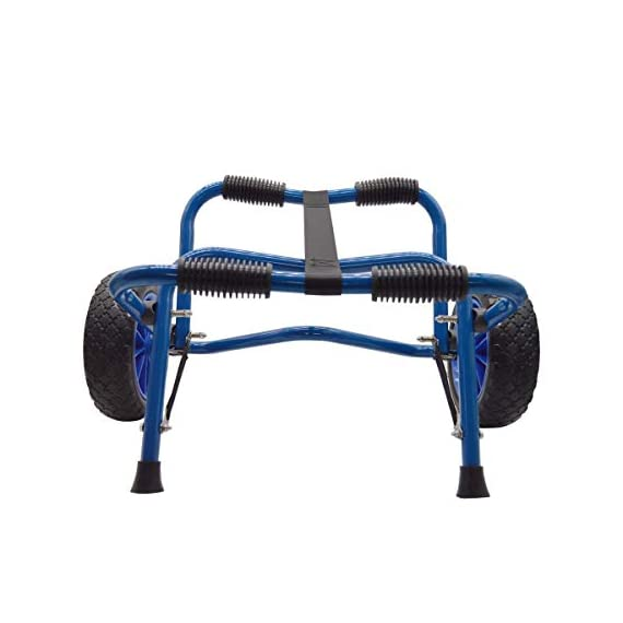 Newcod kayak cart kayak trolley carrier dolly trailer for canoe boat with no-flat airless tires wheels 7 【good quality】22x1. 5mm aluminum tube with rubber pads. 【pu wheel】with two pu solid wheels, don't need to inflate. 【capacity】this kayak cart can be loaded 165lbs.