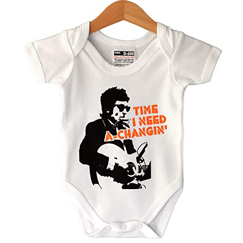Bob Dylan Time I Need A-Changin' White Babygrow 0-6 Meses/Rock Baby Clothing