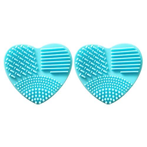 Detergente in silicone, 2 pennelli a forma di cuore per il trucco e pennelli in silicone, 8 cm x 7,5 cm x 2,8 cm (blu, rosa) Blu Blu 8*7.5*2.8
