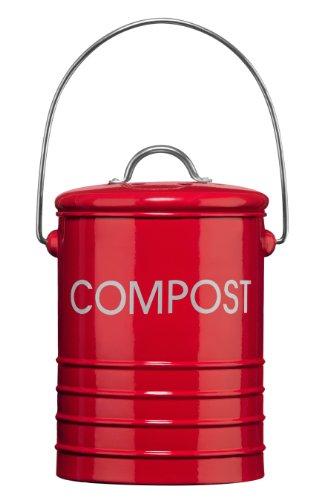 Premier Housewares 0510018 Komposteimer mit Tragegriff Ø14 x H22 cm, Rot