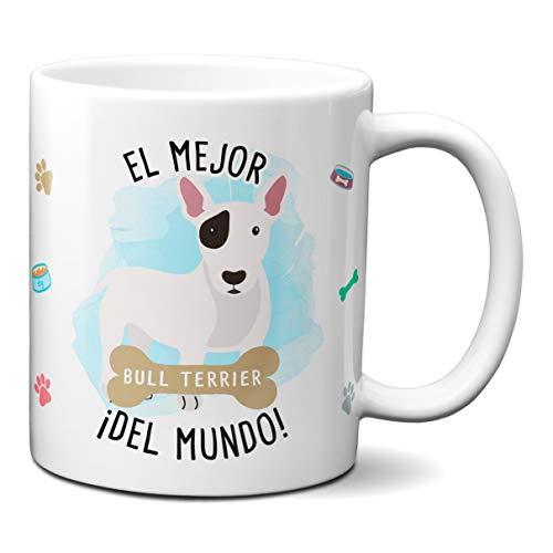 Planetacase Taza el Mejor Bull Terrier del Mundo Regalo Original Taza Perro Ceramica 330 mL