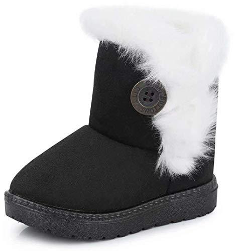 Vorgelen Botas de Nieve para Niños Invierno Felpa Botines Calentar Botas de Nieve Bebés Antideslizantes Zapatos Botas (Negro - 27 EU = Etiqueta 28)
